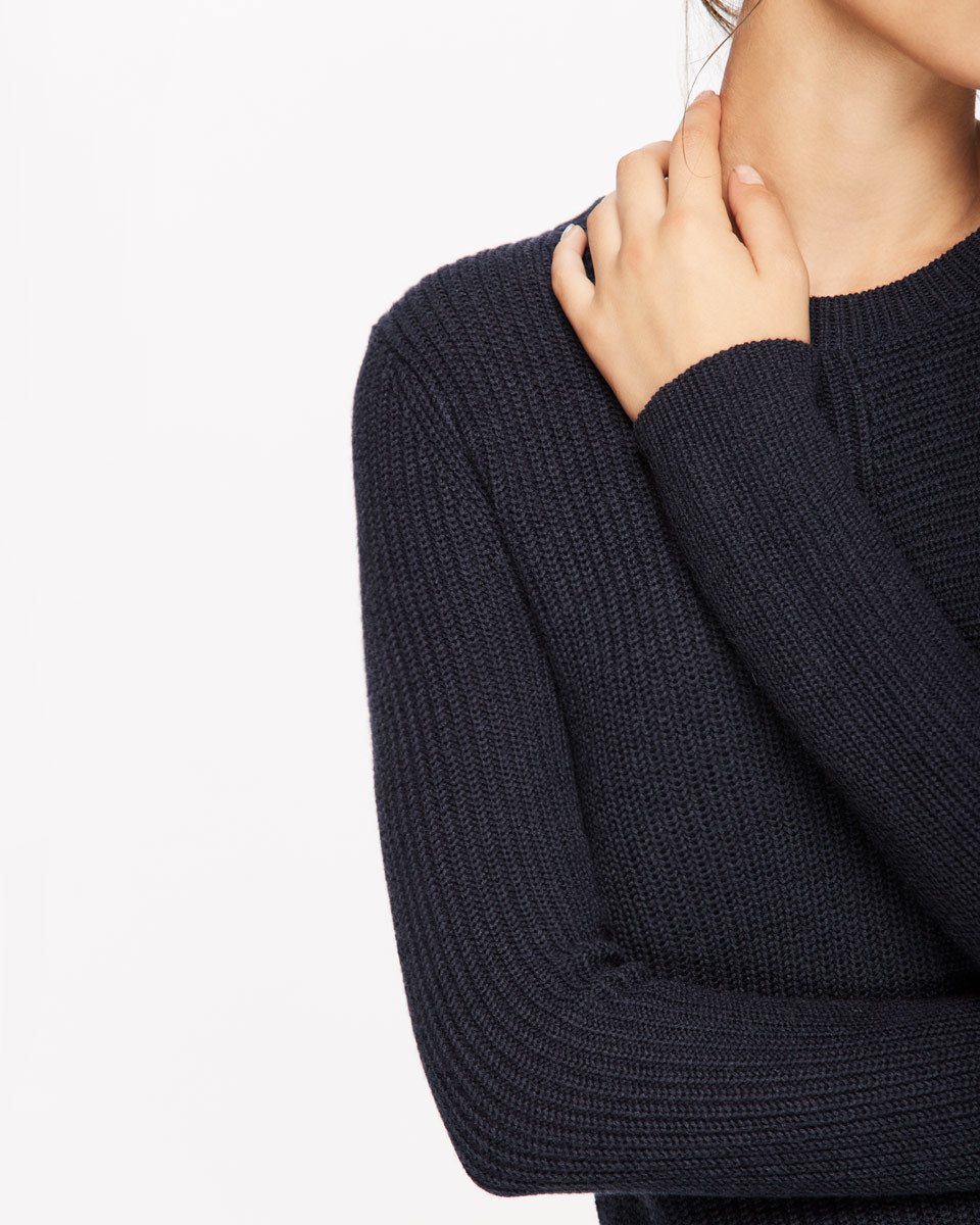 Half Rib Jumper - pattern: plain; style: standard; predominant colour: navy; occasions: casual, creative work; length: standard; fibres: wool - mix; fit: slim fit; neckline: crew; sleeve length: long sleeve; sleeve style: standard; texture group: knits/crochet; pattern type: knitted - other; wardrobe: basic; season: a/w 2016
