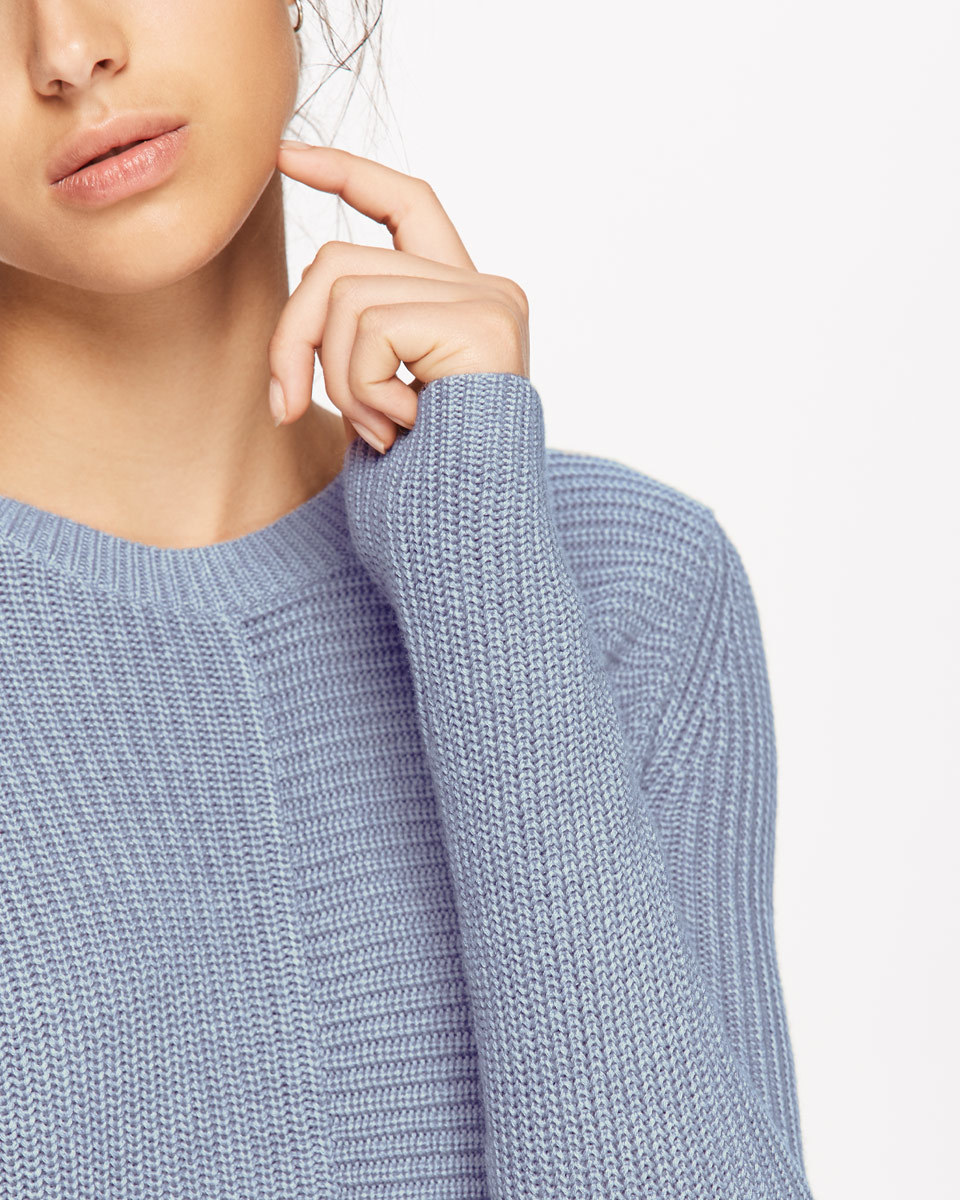Half Rib Jumper - pattern: plain; style: standard; predominant colour: pale blue; occasions: casual, creative work; length: standard; fibres: wool - mix; fit: standard fit; neckline: crew; sleeve length: long sleeve; sleeve style: standard; texture group: knits/crochet; pattern type: knitted - other; season: a/w 2016; wardrobe: highlight