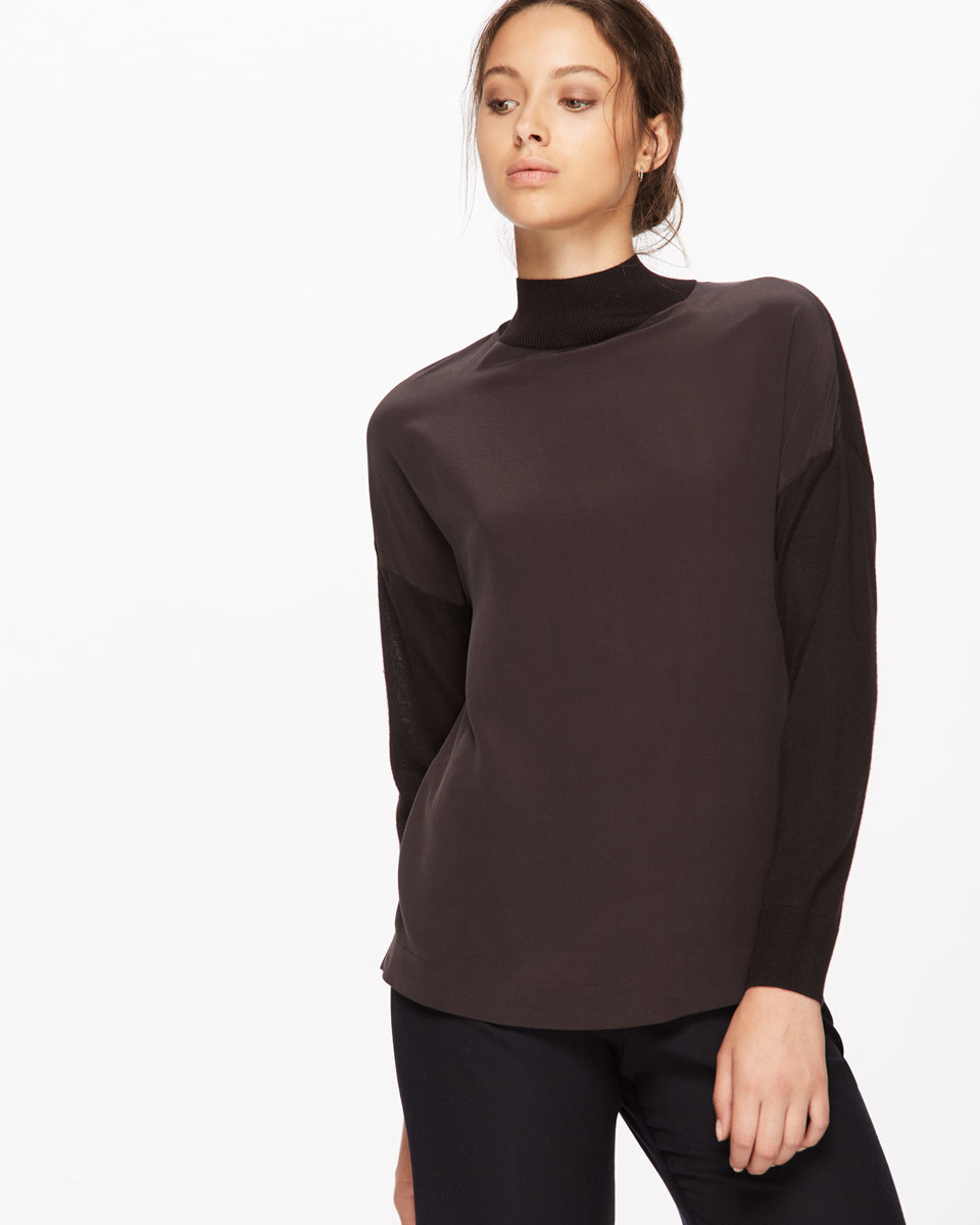 Silk Front Jumper - pattern: plain; neckline: roll neck; predominant colour: black; occasions: casual; length: standard; style: top; fibres: silk - mix; fit: body skimming; sleeve length: long sleeve; sleeve style: standard; texture group: knits/crochet; pattern type: fabric; season: a/w 2016