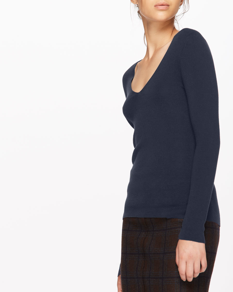 Silk Cotton V Neck Jumper - neckline: v-neck; pattern: plain; style: standard; predominant colour: navy; occasions: casual; length: standard; fibres: silk - mix; fit: standard fit; sleeve length: long sleeve; sleeve style: standard; pattern type: fabric; texture group: jersey - stretchy/drapey; season: a/w 2016; wardrobe: highlight