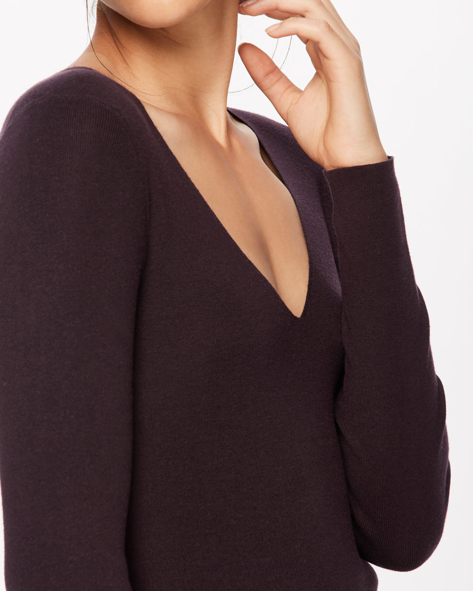Silk Cotton V Neck Jumper - neckline: low v-neck; pattern: plain; style: standard; predominant colour: black; occasions: casual; length: standard; fibres: silk - mix; fit: slim fit; sleeve length: long sleeve; sleeve style: standard; pattern type: fabric; texture group: jersey - stretchy/drapey; season: a/w 2016; wardrobe: highlight