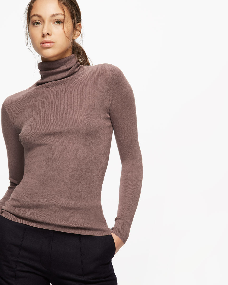 Silk Cotton Polo Neck Jumper - pattern: plain; neckline: roll neck; style: standard; predominant colour: charcoal; occasions: casual; length: standard; fibres: silk - mix; fit: slim fit; sleeve length: long sleeve; sleeve style: standard; pattern type: fabric; texture group: jersey - stretchy/drapey; season: a/w 2016; wardrobe: highlight
