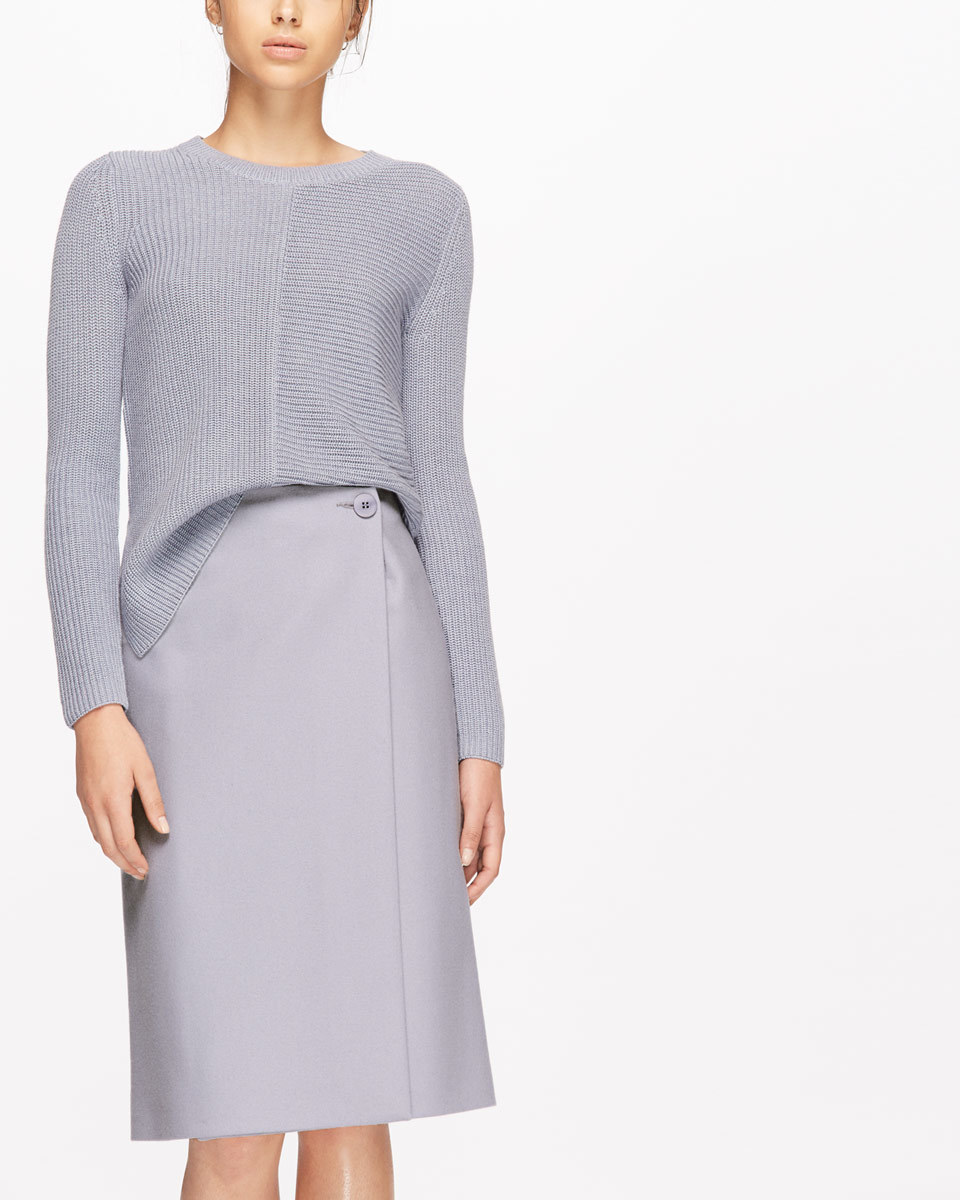 Pressed Flannel Wrap Pencil Skirt - pattern: plain; style: pencil; fit: tailored/fitted; waist: mid/regular rise; predominant colour: lilac; occasions: work; length: on the knee; fibres: wool - mix; pattern type: fabric; texture group: other - light to midweight; season: a/w 2016; wardrobe: highlight