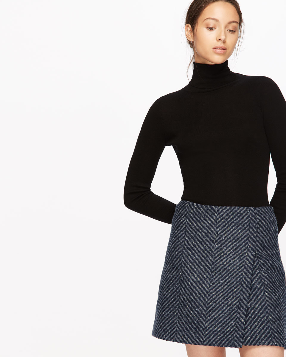 Herringbone Wrap Mini Skirt - length: mid thigh; style: wrap/faux wrap; pattern: herringbone/tweed; waist: mid/regular rise; predominant colour: navy; secondary colour: mid grey; occasions: casual; fibres: wool - 100%; fit: straight cut; pattern type: fabric; texture group: tweed - light/midweight; season: a/w 2016