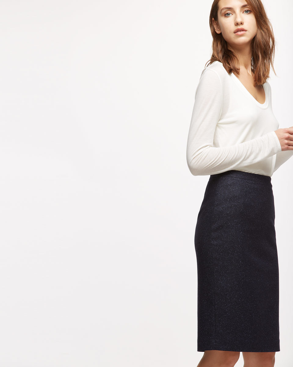 Flecked Tailoring Pencil Skirt - pattern: plain; style: pencil; fit: tailored/fitted; waist: mid/regular rise; predominant colour: navy; occasions: work; length: on the knee; fibres: wool - mix; pattern type: fabric; texture group: woven light midweight; wardrobe: basic; season: a/w 2016