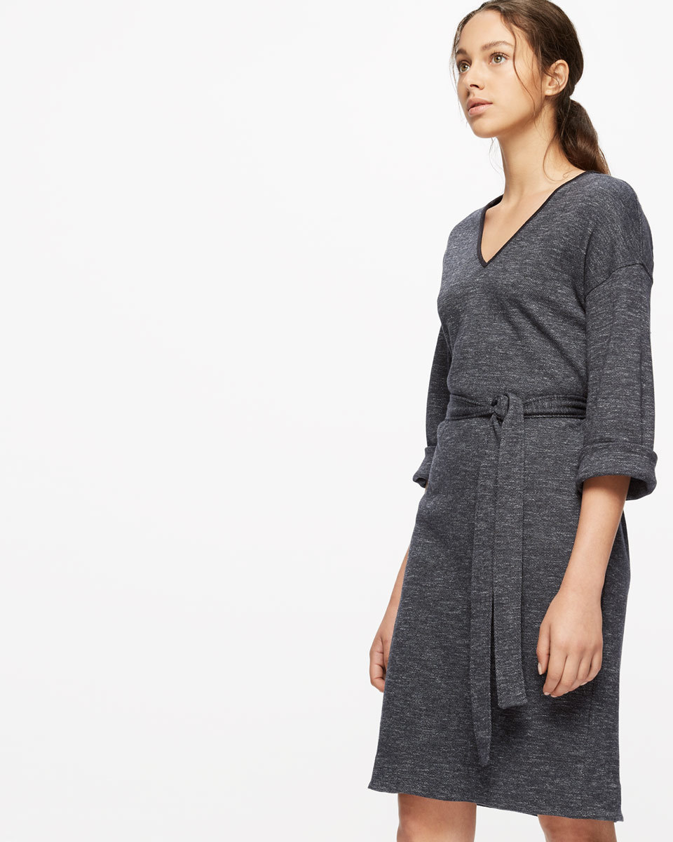 Herringbone Jersey Dress - style: shift; neckline: v-neck; pattern: plain; waist detail: belted waist/tie at waist/drawstring; predominant colour: charcoal; occasions: casual, creative work; length: just above the knee; fit: body skimming; fibres: cotton - mix; sleeve length: 3/4 length; sleeve style: standard; pattern type: fabric; texture group: jersey - stretchy/drapey; wardrobe: basic; season: a/w 2016