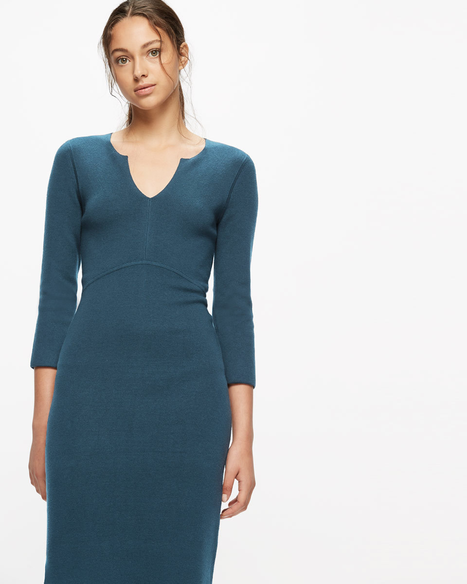 Silk Tencel Fitted Knit Dress - style: shift; neckline: v-neck; pattern: plain; predominant colour: navy; occasions: evening; length: on the knee; fit: body skimming; fibres: silk - mix; sleeve length: 3/4 length; sleeve style: standard; pattern type: fabric; texture group: jersey - stretchy/drapey; season: a/w 2016; wardrobe: event