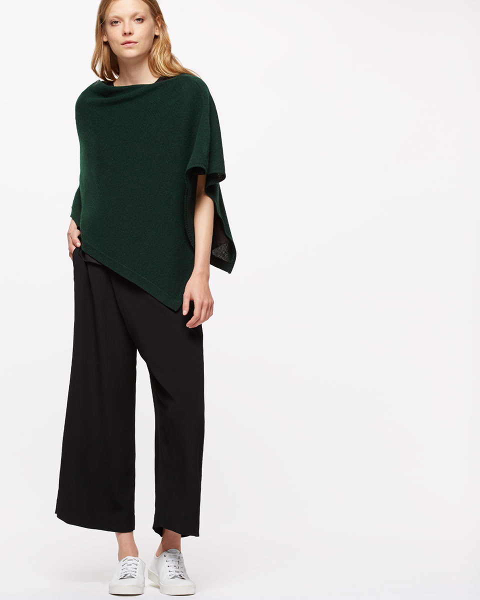 Knitted Ribbed Border Poncho - neckline: slash/boat neckline; pattern: plain; style: cape; predominant colour: dark green; occasions: casual; length: standard; fibres: wool - mix; fit: loose; sleeve length: half sleeve; texture group: knits/crochet; pattern type: knitted - fine stitch; sleeve style: cape/poncho sleeve; season: a/w 2016; wardrobe: highlight