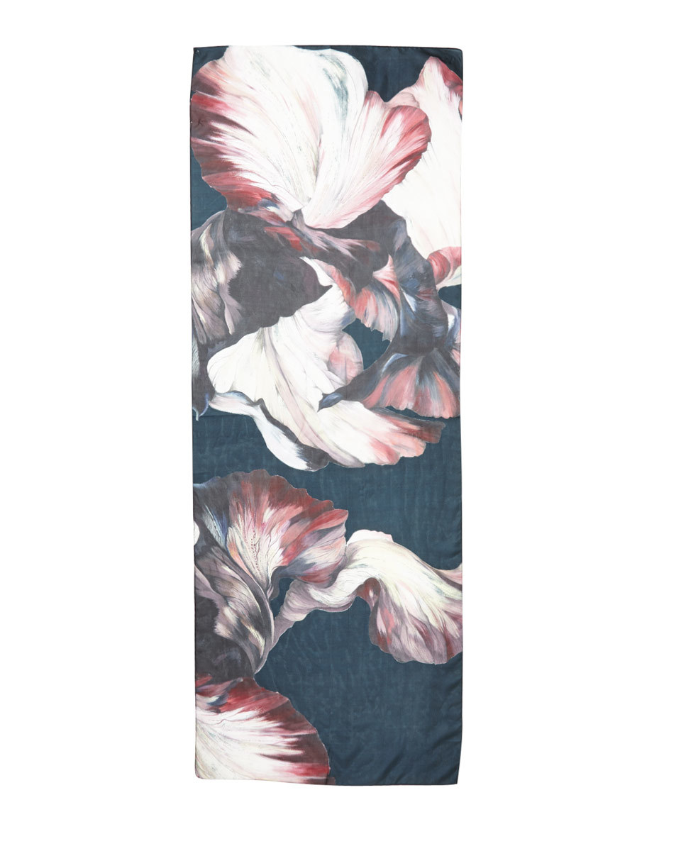 Magnified Floral Silk Scarf - predominant colour: navy; occasions: casual; type of pattern: heavy; style: regular; size: standard; material: silk; pattern: florals; multicoloured: multicoloured; season: a/w 2016; wardrobe: highlight
