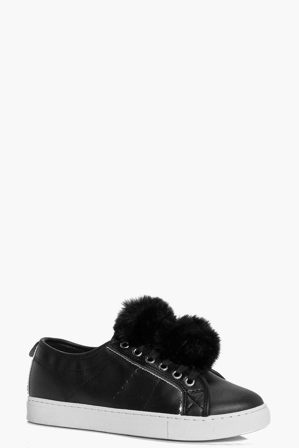 Pom Pom Trim Lace Up Trainer Black - predominant colour: black; occasions: casual; material: fabric; heel height: flat; toe: round toe; style: trainers; finish: plain; pattern: plain; wardrobe: basic; season: a/w 2016