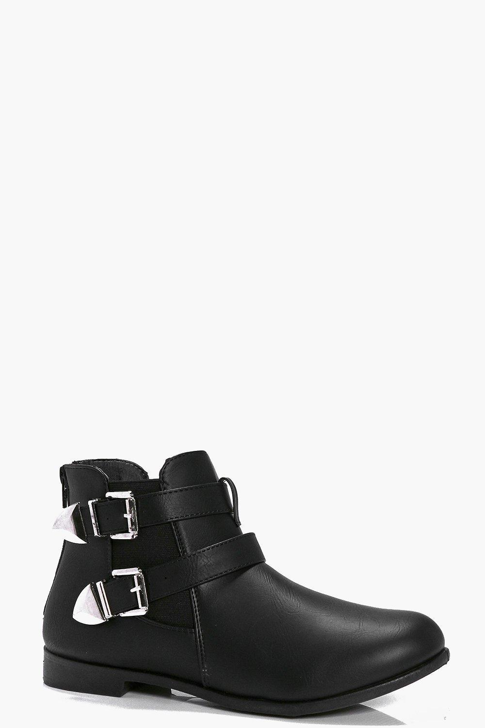 Buckle Chelsea Boot Black - predominant colour: black; occasions: casual; material: faux leather; heel height: flat; embellishment: buckles; heel: standard; toe: round toe; boot length: ankle boot; style: standard; finish: plain; pattern: plain; wardrobe: basic; season: a/w 2016