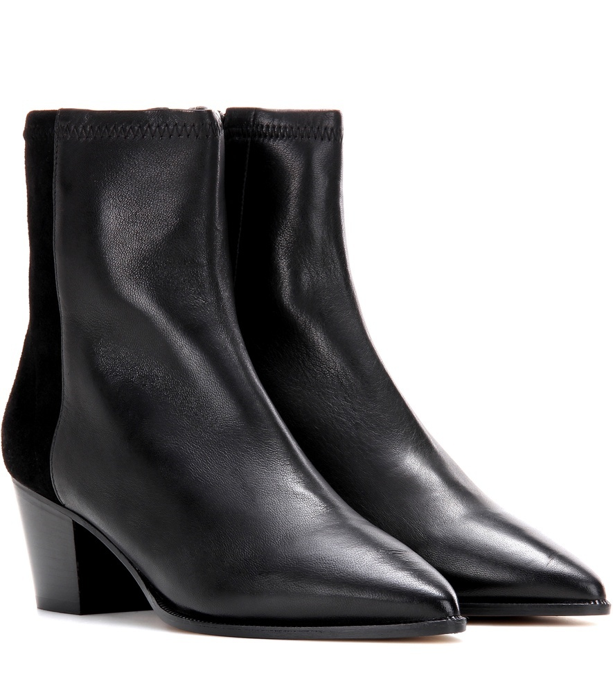 Dabbs Leather And Suede Ankle Boots - predominant colour: black; occasions: casual, creative work; material: leather; heel height: mid; heel: block; toe: pointed toe; boot length: ankle boot; style: standard; finish: plain; pattern: plain; wardrobe: basic; season: a/w 2016
