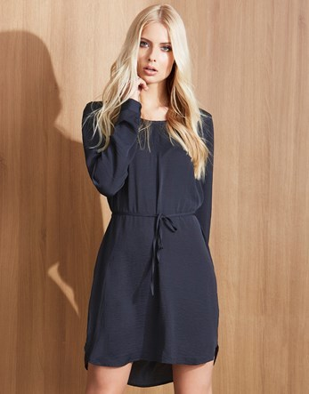 Tie Waist Dress - style: tunic; length: mid thigh; neckline: round neck; fit: fitted at waist; pattern: plain; waist detail: belted waist/tie at waist/drawstring; predominant colour: navy; fibres: silk - 100%; sleeve length: long sleeve; sleeve style: standard; texture group: silky - light; pattern type: fabric; occasions: creative work; season: a/w 2016; wardrobe: highlight