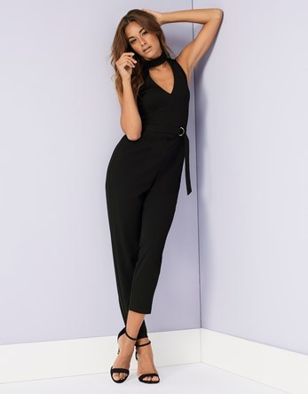 Choker V Neck D Ring Belted Jumpsuit - neckline: v-neck; pattern: plain; sleeve style: sleeveless; waist detail: belted waist/tie at waist/drawstring; predominant colour: black; occasions: evening; length: ankle length; fit: body skimming; fibres: polyester/polyamide - stretch; sleeve length: sleeveless; style: jumpsuit; pattern type: fabric; texture group: jersey - stretchy/drapey; season: a/w 2016; wardrobe: event