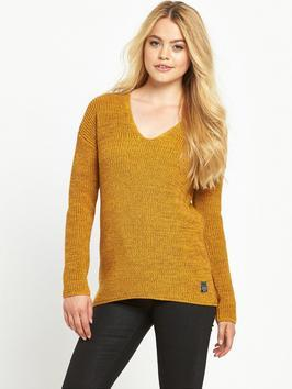 Almeta Knit Jumper - neckline: low v-neck; pattern: plain; style: standard; predominant colour: mustard; occasions: casual, creative work; length: standard; fibres: cotton - mix; fit: standard fit; sleeve length: long sleeve; sleeve style: standard; texture group: knits/crochet; pattern type: knitted - other; season: a/w 2016; wardrobe: highlight