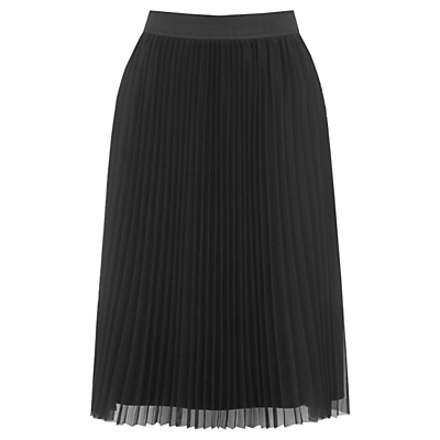 Pleated Mesh Skirt, Black - pattern: plain; fit: loose/voluminous; style: pleated; waist: high rise; predominant colour: black; occasions: work, occasion; length: on the knee; fibres: polyester/polyamide - 100%; hip detail: adds bulk at the hips; texture group: sheer fabrics/chiffon/organza etc.; pattern type: fabric; wardrobe: basic; season: a/w 2016