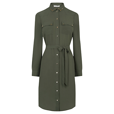 Studded Utility Shirt Dress, Khaki - style: shirt; neckline: shirt collar/peter pan/zip with opening; pattern: plain; waist detail: belted waist/tie at waist/drawstring; predominant colour: khaki; occasions: casual, creative work; length: on the knee; fit: body skimming; fibres: polyester/polyamide - 100%; sleeve length: long sleeve; sleeve style: standard; pattern type: fabric; texture group: other - light to midweight; wardrobe: basic; season: a/w 2016; trends: military