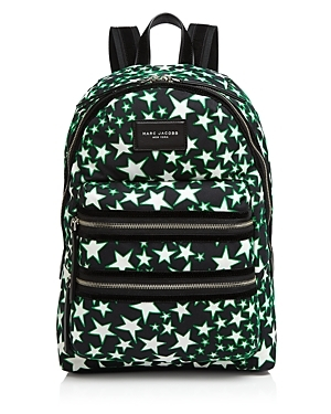 Flocked Stars Print Backpack - predominant colour: black; occasions: casual; type of pattern: light; style: rucksack; length: rucksack; size: standard; material: fabric; finish: plain; pattern: patterned/print; season: a/w 2016; wardrobe: highlight