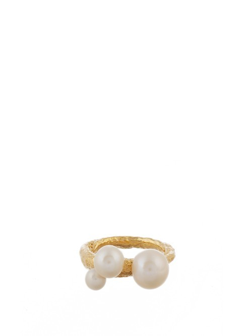Pearly Dough Pearl And Yellow Gold Plated Ring - secondary colour: ivory/cream; predominant colour: gold; occasions: casual; style: cocktail; size: large/oversized; material: chain/metal; finish: metallic; embellishment: pearls; multicoloured: multicoloured; season: a/w 2016; wardrobe: highlight