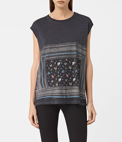 Bayeux Brooke Tee - sleeve style: capped; style: t-shirt; secondary colour: white; predominant colour: navy; occasions: casual; length: standard; fibres: cotton - stretch; fit: loose; neckline: crew; sleeve length: short sleeve; pattern type: fabric; pattern size: standard; pattern: florals; texture group: jersey - stretchy/drapey; multicoloured: multicoloured; season: a/w 2016