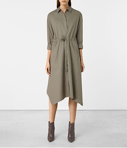 Riva Dress - style: shirt; length: calf length; neckline: shirt collar/peter pan/zip with opening; pattern: plain; waist detail: belted waist/tie at waist/drawstring; predominant colour: light grey; occasions: casual, evening, work, creative work; fit: body skimming; fibres: cotton - 100%; sleeve length: 3/4 length; sleeve style: standard; texture group: crepes; pattern type: fabric; wardrobe: basic; season: a/w 2016