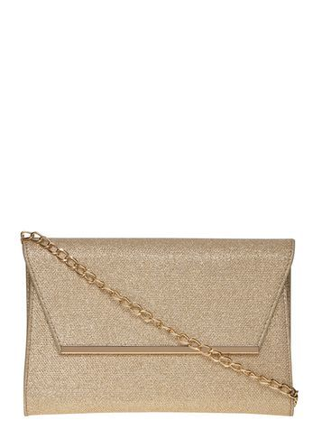 Womens Gold Glitter Chain Clutch Bag Gold - predominant colour: gold; occasions: evening, occasion; type of pattern: standard; style: clutch; length: hand carry; size: standard; material: faux leather; embellishment: glitter; pattern: plain; finish: metallic; season: a/w 2016; wardrobe: event