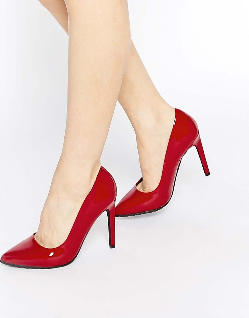 Court Shoes Dark Red Patent Pu - predominant colour: true red; occasions: evening, creative work; material: faux leather; heel height: high; heel: stiletto; toe: pointed toe; style: courts; finish: plain; pattern: plain; season: a/w 2016; wardrobe: highlight