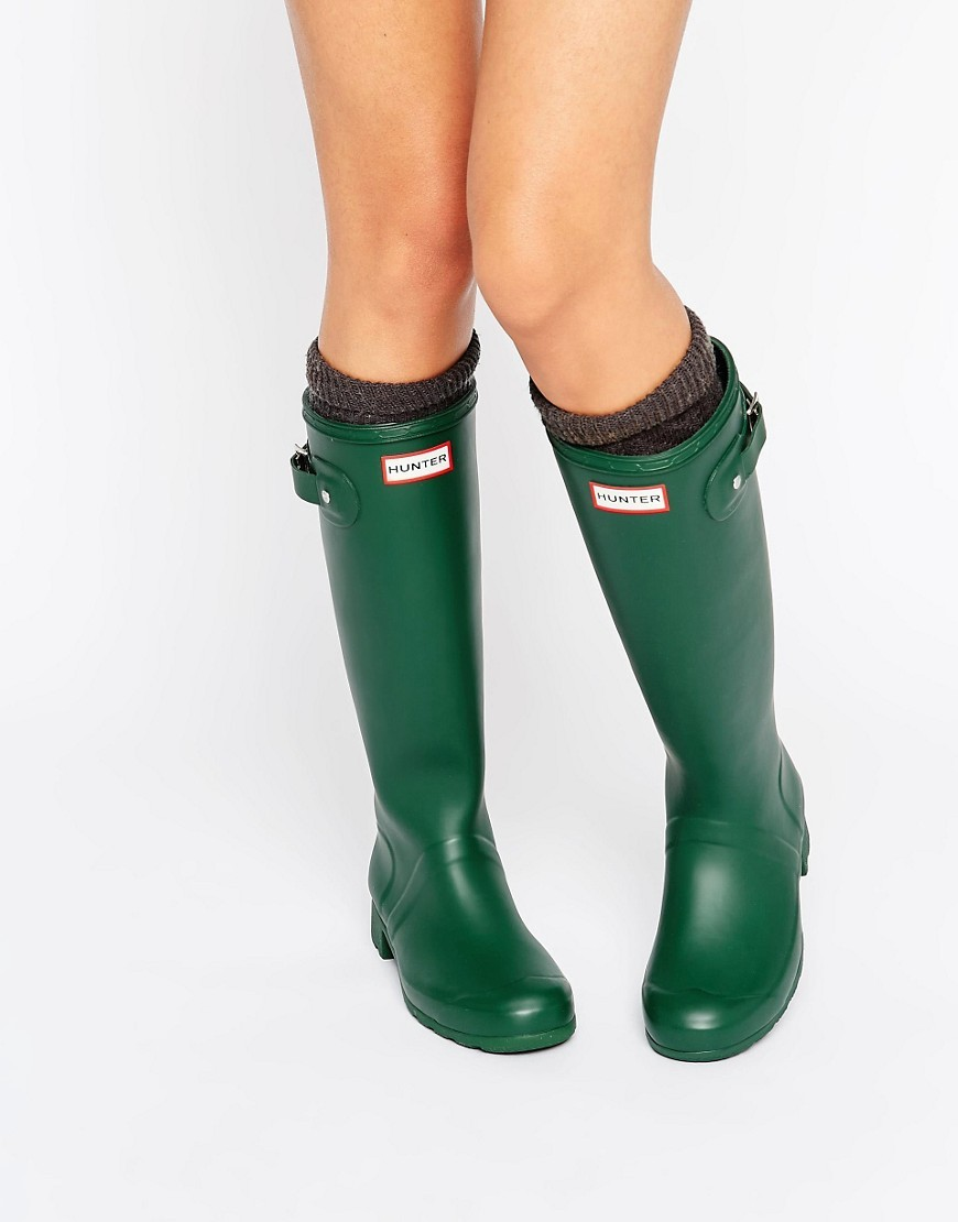 Original Tour Green Collapsable Wellington Boots Green - predominant colour: dark green; occasions: casual; material: plastic/rubber; heel height: flat; heel: block; toe: round toe; boot length: knee; style: wellies; finish: plain; pattern: plain; season: a/w 2016; wardrobe: highlight