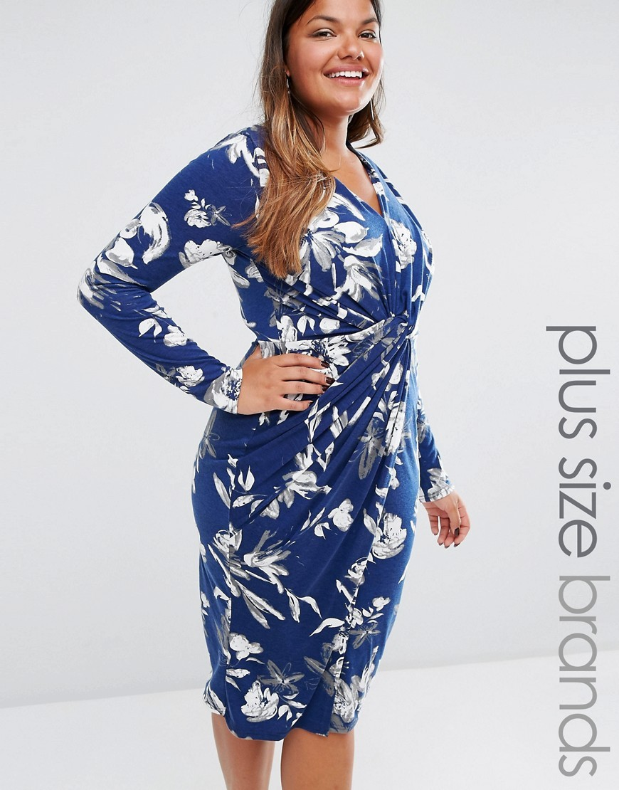 Plus Jersey Midi Dress With Knot Front In Floral Print Navy - style: shift; neckline: v-neck; secondary colour: white; predominant colour: royal blue; occasions: evening; length: on the knee; fit: body skimming; fibres: viscose/rayon - stretch; sleeve length: long sleeve; sleeve style: standard; pattern type: fabric; pattern: florals; texture group: jersey - stretchy/drapey; multicoloured: multicoloured; season: a/w 2016; wardrobe: event
