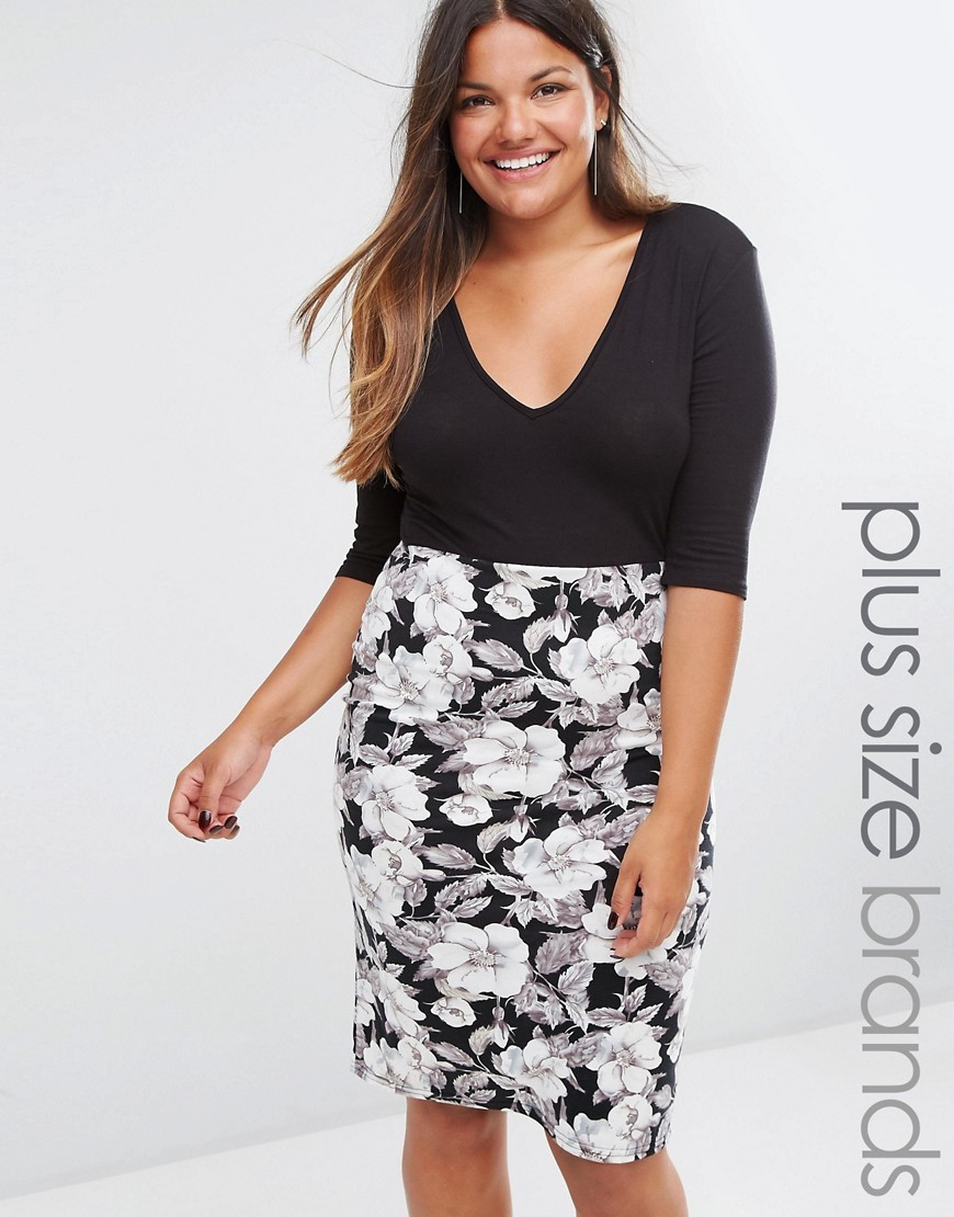 Plus Plunge Midi Dress With Floral Print Skirt Black/White - style: shift; neckline: low v-neck; secondary colour: white; predominant colour: black; occasions: evening; length: on the knee; fit: body skimming; fibres: viscose/rayon - stretch; sleeve length: half sleeve; sleeve style: standard; texture group: jersey - clingy; pattern type: fabric; pattern size: big & busy; pattern: florals; multicoloured: multicoloured; season: a/w 2016; wardrobe: event