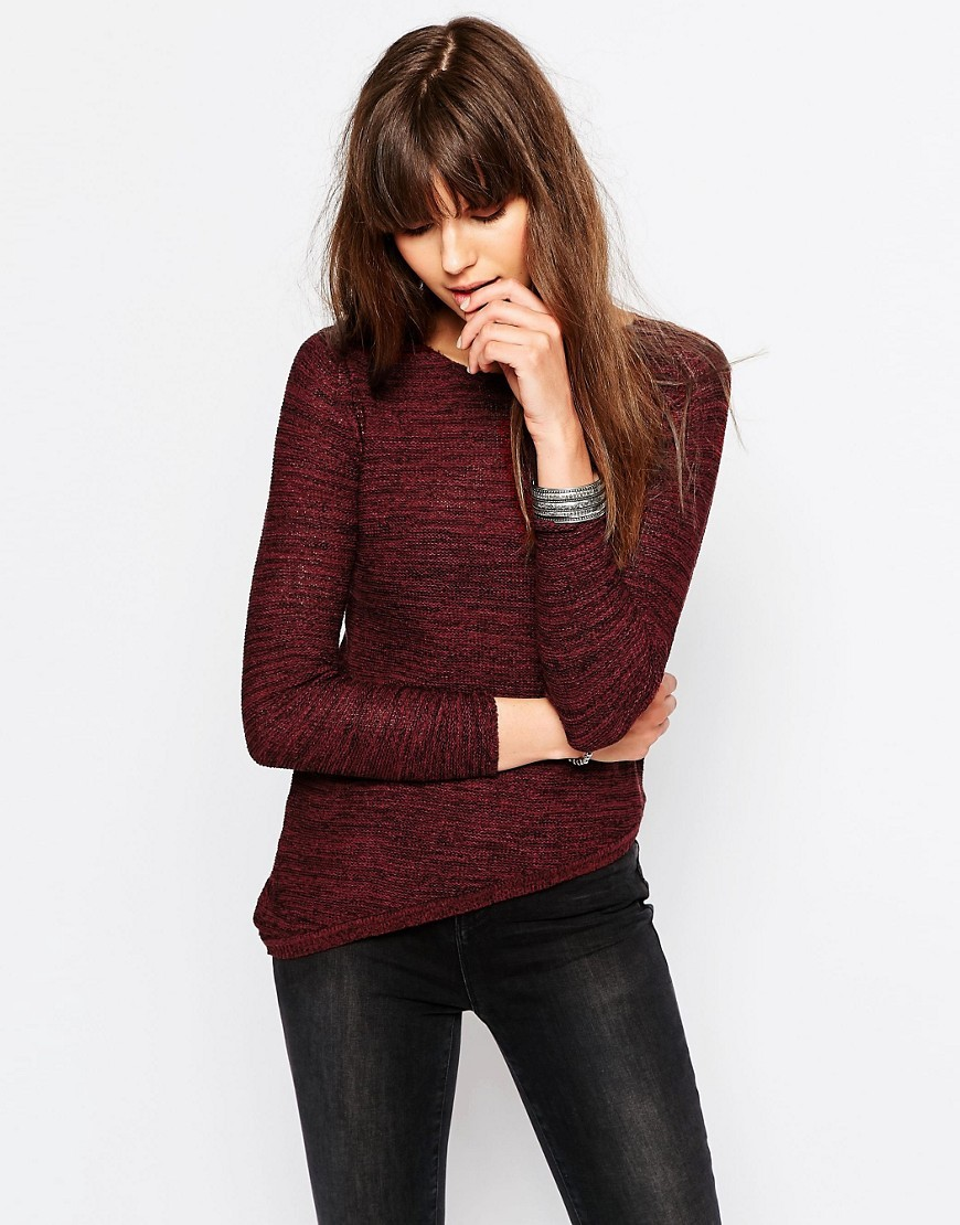 Jumper With Asymmetric Hem Syrah - pattern: plain; style: standard; predominant colour: burgundy; occasions: casual; length: standard; fibres: acrylic - mix; fit: slim fit; neckline: crew; sleeve length: 3/4 length; sleeve style: standard; texture group: knits/crochet; pattern type: fabric; season: a/w 2016; wardrobe: highlight