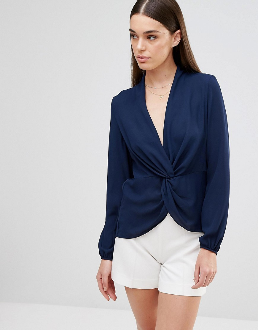 Long Sleeve Top With Knot Navy - neckline: low v-neck; pattern: plain; predominant colour: navy; occasions: evening, work; length: standard; style: top; fibres: polyester/polyamide - 100%; fit: body skimming; sleeve length: long sleeve; sleeve style: standard; texture group: sheer fabrics/chiffon/organza etc.; pattern type: fabric; wardrobe: basic; season: a/w 2016