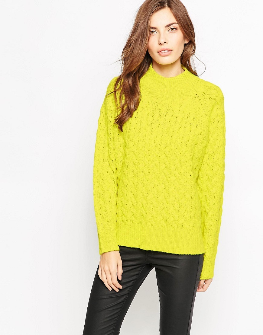 Glinda High Neck Jumper Acid Blonde - neckline: high neck; style: standard; pattern: cable knit; predominant colour: yellow; occasions: casual; length: standard; fibres: acrylic - mix; fit: standard fit; sleeve length: long sleeve; sleeve style: standard; texture group: knits/crochet; pattern type: fabric; season: a/w 2016; wardrobe: highlight