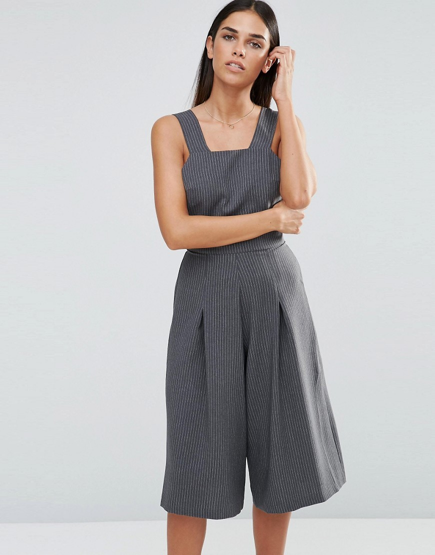 Pinafore Culotte Jumpsuit Grey Pinstripe - pattern: plain; sleeve style: sleeveless; predominant colour: charcoal; occasions: casual, creative work; length: calf length; fit: fitted at waist & bust; fibres: polyester/polyamide - 100%; sleeve length: sleeveless; texture group: crepes; style: jumpsuit; neckline: medium square neck; pattern type: fabric; season: a/w 2016; wardrobe: highlight