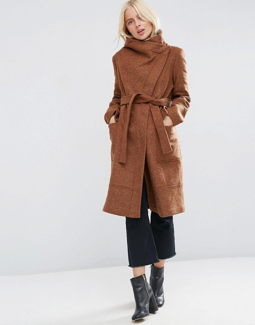 Coat In Wool Blend With Funnel Neck And Tie Waist Chestnut - pattern: plain; collar: funnel; length: on the knee; style: wrap around; fit: slim fit; predominant colour: tan; occasions: casual; fibres: wool - mix; waist detail: belted waist/tie at waist/drawstring; sleeve length: long sleeve; sleeve style: standard; collar break: high; pattern type: fabric; texture group: woven bulky/heavy; season: a/w 2016; wardrobe: highlight