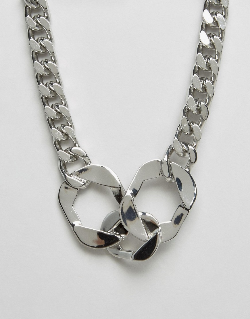 Cuff Necklace Silver - predominant colour: silver; occasions: evening; length: mid; size: standard; material: chain/metal; finish: metallic; style: chain (no pendant); season: a/w 2016; wardrobe: event