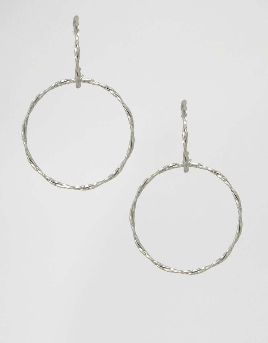 Twist Earrings Silver - predominant colour: silver; occasions: evening; style: hoop; length: mid; size: standard; material: chain/metal; fastening: pierced; finish: metallic; season: a/w 2016; wardrobe: event