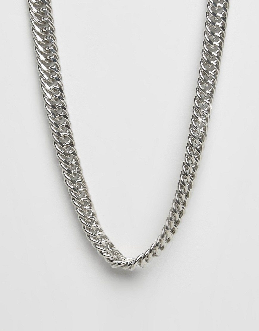 Stamp Necklace Silver - predominant colour: silver; occasions: evening; length: mid; size: standard; material: chain/metal; finish: metallic; style: chain (no pendant); season: a/w 2016; wardrobe: event