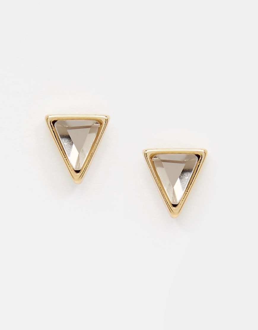 Pyramid Crystal Stud Earrings Pale Gold - predominant colour: gold; occasions: evening, occasion; style: stud; length: short; size: small/fine; material: chain/metal; fastening: pierced; finish: metallic; season: a/w 2016
