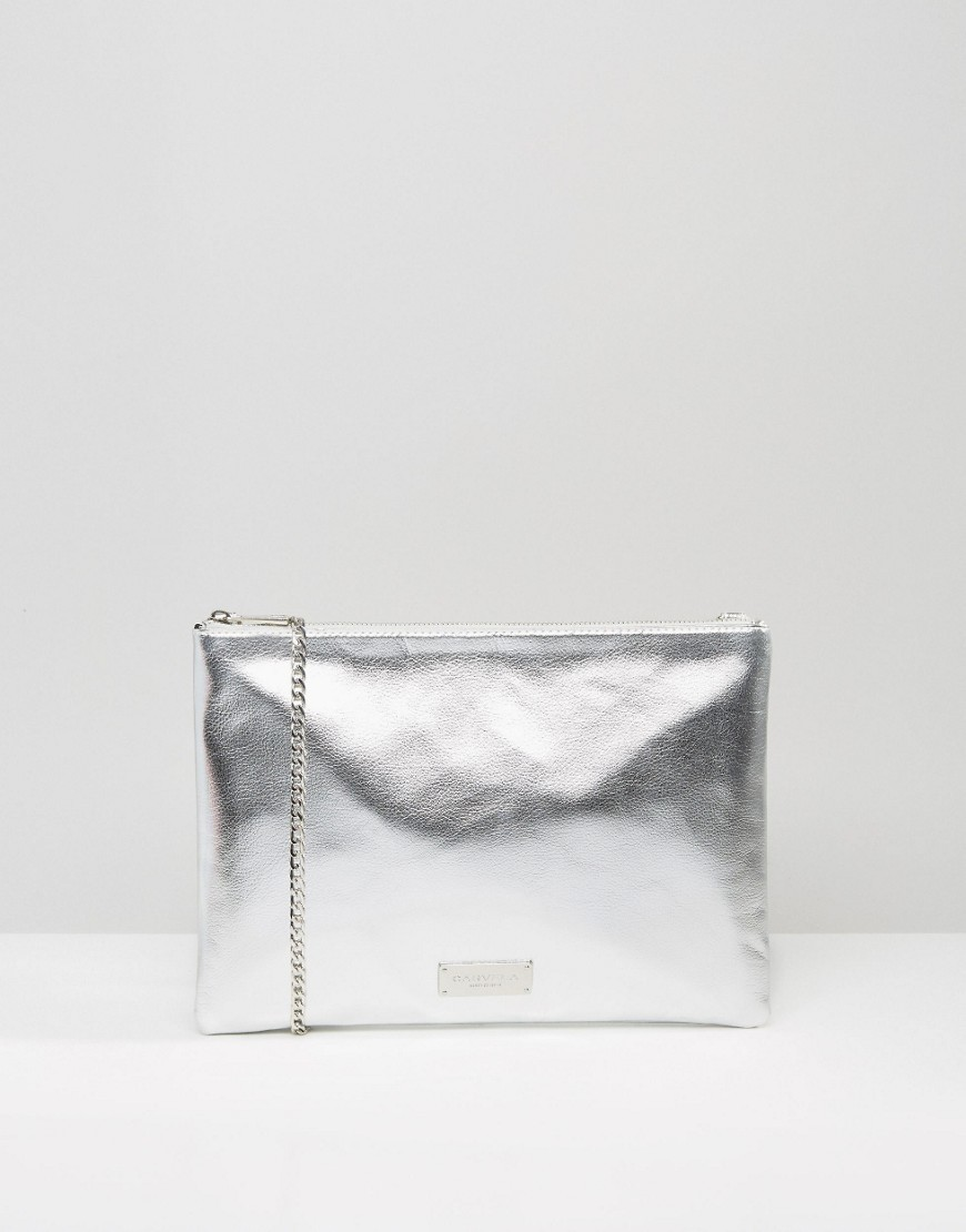 Metallic Clutch Bag With Optional Cross Body Strap Silver - predominant colour: silver; occasions: evening, occasion; type of pattern: standard; style: clutch; length: hand carry; size: small; material: leather; pattern: plain; finish: plain; season: a/w 2016