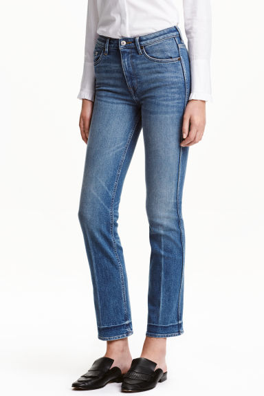 Straight Cropped High Jeans - style: straight leg; length: standard; pattern: plain; waist: high rise; pocket detail: traditional 5 pocket; predominant colour: denim; occasions: casual, creative work; fibres: cotton - stretch; jeans detail: whiskering, shading down centre of thigh; texture group: denim; pattern type: fabric; season: a/w 2016