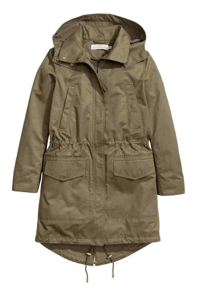 Parka With A Hood - pattern: plain; collar: funnel; style: parka; back detail: hood; length: mid thigh; predominant colour: khaki; occasions: casual; fit: straight cut (boxy); fibres: cotton - 100%; waist detail: belted waist/tie at waist/drawstring; sleeve length: long sleeve; sleeve style: standard; texture group: technical outdoor fabrics; collar break: high; pattern type: fabric; wardrobe: basic; season: a/w 2016