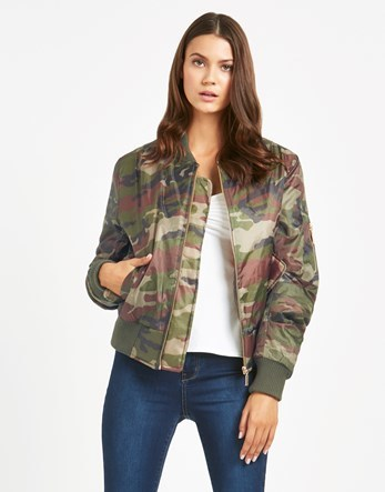 Camo Bomber Jacket - collar: round collar/collarless; fit: slim fit; style: bomber; predominant colour: khaki; secondary colour: stone; occasions: casual; length: standard; fibres: polyester/polyamide - 100%; sleeve length: long sleeve; sleeve style: standard; collar break: high; pattern type: fabric; pattern size: standard; texture group: other - light to midweight; pattern: camouflage; multicoloured: multicoloured; season: a/w 2016; wardrobe: highlight
