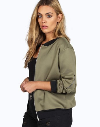 Plus Bomber Jacket - pattern: plain; collar: round collar/collarless; fit: slim fit; style: bomber; predominant colour: khaki; secondary colour: black; occasions: casual; length: standard; fibres: polyester/polyamide - stretch; sleeve length: long sleeve; sleeve style: standard; collar break: high; pattern type: fabric; texture group: other - light to midweight; wardrobe: basic; season: a/w 2016