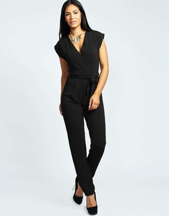 Petite Wrap Over Jumpsuit - length: standard; neckline: v-neck; sleeve style: capped; pattern: plain; predominant colour: black; occasions: evening; fit: body skimming; fibres: polyester/polyamide - stretch; sleeve length: short sleeve; style: jumpsuit; pattern type: fabric; texture group: jersey - stretchy/drapey; season: a/w 2016; wardrobe: event