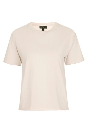 Nibbled Tee - pattern: plain; style: t-shirt; predominant colour: ivory/cream; occasions: casual; length: standard; fibres: cotton - mix; fit: body skimming; neckline: crew; sleeve length: short sleeve; sleeve style: standard; texture group: jersey - clingy; pattern type: fabric; trends: chic girl, glossy girl, pretty girl, new sporty; season: s/s 2016; wardrobe: basic