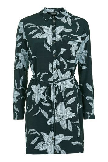 Oriental Print Shirt Dress - style: shirt; length: mid thigh; neckline: shirt collar/peter pan/zip with opening; waist detail: belted waist/tie at waist/drawstring; predominant colour: navy; secondary colour: light grey; occasions: evening; fit: body skimming; fibres: viscose/rayon - 100%; sleeve length: long sleeve; sleeve style: standard; pattern type: fabric; pattern size: big & busy; pattern: florals; texture group: woven light midweight; multicoloured: multicoloured; trends: pretty girl; season: a/w 2016; wardrobe: event