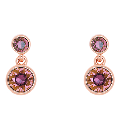 Swarovski Crystal Dot Drop Earrings, Rose Gold/Amethyst - secondary colour: pink; predominant colour: gold; occasions: evening, occasion; style: drop; length: mid; size: standard; material: chain/metal; fastening: pierced; finish: metallic; embellishment: jewels/stone; season: a/w 2015; wardrobe: event