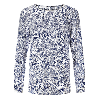 Animal Print Top, Blue/White - neckline: round neck; style: t-shirt; secondary colour: white; predominant colour: royal blue; occasions: casual, creative work; length: standard; fibres: viscose/rayon - 100%; fit: body skimming; sleeve length: long sleeve; sleeve style: standard; pattern type: fabric; pattern: animal print; texture group: jersey - stretchy/drapey; pattern size: big & busy (top); season: a/w 2016