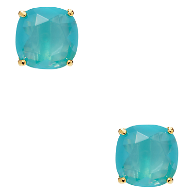 Mini Small Square Stud Earrings - predominant colour: turquoise; occasions: evening, occasion; style: stud; length: short; size: small/fine; material: chain/metal; fastening: pierced; finish: metallic; embellishment: jewels/stone; season: a/w 2016